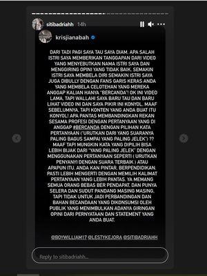 Unggahan suami Siti Badriah, Krisjiana Baharudin, berkaitan ucapan Lesti Kejora di konten Boy William.