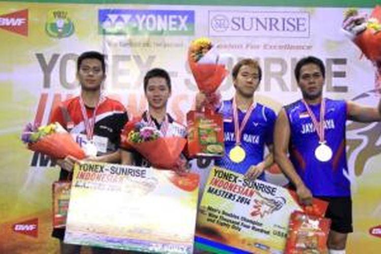 Markis Kido/Markus Gideon Fernaldi  menjadi juara dnegan  mengalahkan Selvanus Geh/Kevin Sanjaya SUkamuljo (kiri)