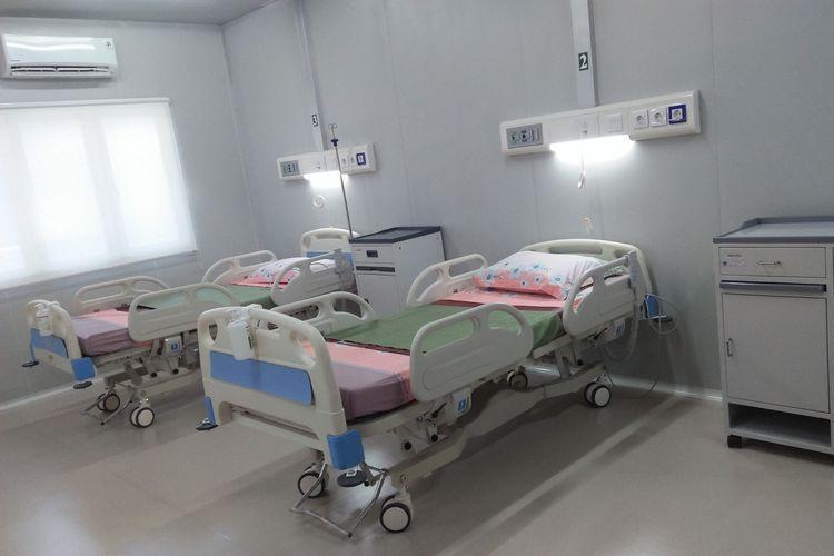 Salah satu ruangan yang ada di fasilitas observasi dan isolasi penyakit infeksi emerging/virus corona (Covid-19) di Kabupaten Lamongan.