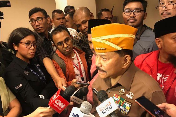 Mantan Kepala Badan Intelijen Negara (BIN) AM Hendropriyono saat ditemui di The Dharmawangsa Hotel, Jakarta Selatan, Kamis (5/9/2019).