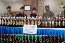 Lagi, TNI Serahkan 1.340 Botol Miras Ilegal dari Malaysia ke Bea Cukai