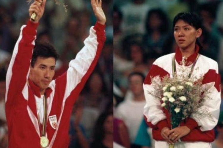 Kolase pebulu tangkis tunggal putra Alan Budikusuma (kiri) dan pemain tunggal putri Susy Susanti saat meraih medali emas Olimpiade Barcelona 1992.