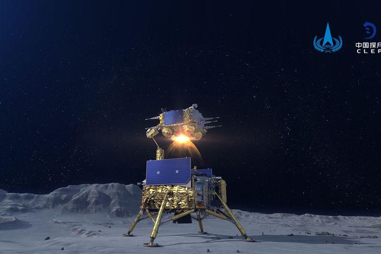 Foto simulasi menunjukkan wahana antariksa Change-5 meluncur dari permukaan Bulan. Wahana antariksa China yang membawa sampel Bulan pertama negara itu lepas landas dari Bulan pada Kamis (3/12/2020) malam, demikian diumumkan Administrasi Luar Angkasa Nasional China (CNSA). Ini merupakan wahana antariksa pertama milik China yang lepas landas dari objek luar angkasa.
