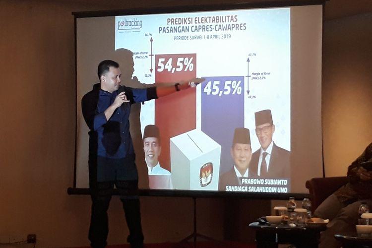 Rilis hasil survei Poltracking di kawasan Jakarta Pusat, Sabtu (13/4/2019).