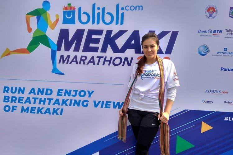 Artis peran, Wulan Guritno akan mengikuti ajang lomba lari BliBli Mekaki Marathon 2018 pada Minggu (28/10/2018)