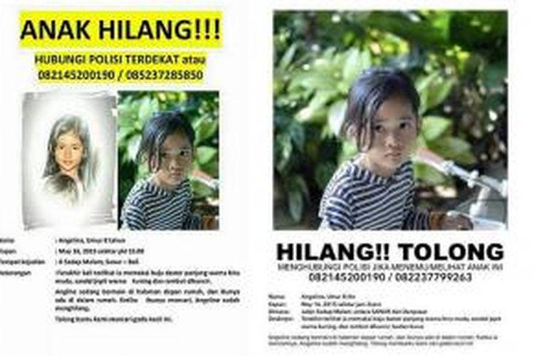 Selebaran tentang anak hilang di Denpasar.