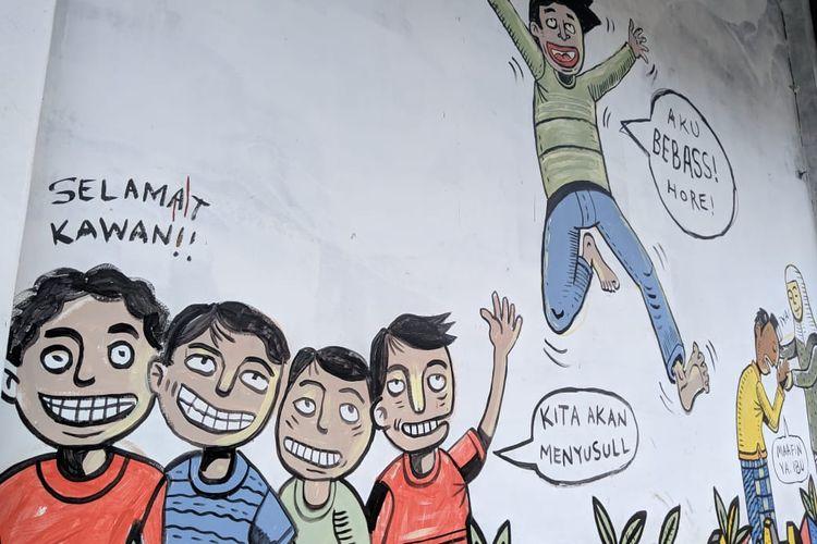 Salah satu mural buatan anak-anak binaan LPKA Klas 1 Kota Tangerang di tembok Aula LPKA Klas 1 Kota Tangerang, Kamis (21/11/2019)