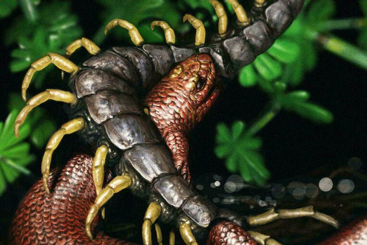 Ilustrasi mikrosaurus, hewan seukuran jari yang hidup sebelum munculnya dinosaurus.