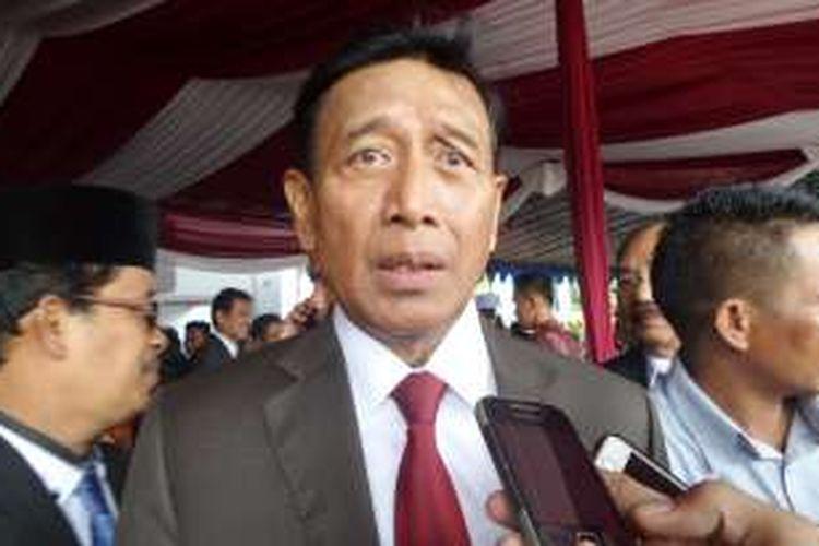 Menteri Koordinator Bidang Politik, Hukum, dan Keamanan, Wiranto di kampus IPDN Jatinangor, Jawa Barat, Senin (8/8/2016).