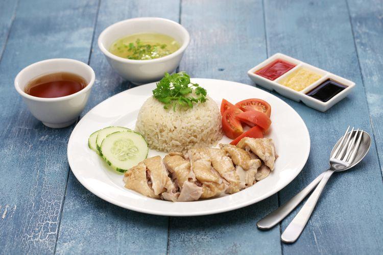 Ilustrasi nasi ayam hainan.