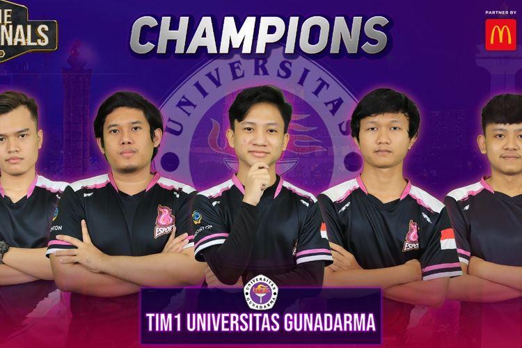 Member dari tim Universitas Gunadarma (UG)-1 yang berhasil menjadi juara LIMA eSports Nationals 2020 seusai mengalahkan Universitas Bina Nusantara (Binus)-1 pada partai final.