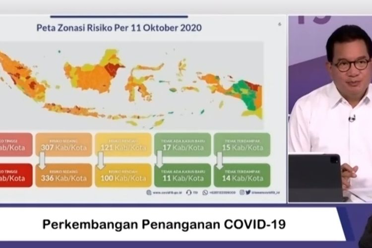 Wiku Adisasmito mengadakan konferensi pers secara langsung melalui aplikasi Zoom di Media Center Satuan Tugas (Satgas) Covid-19, Graha Badan Nasional Penanggulangan Bencana (BNPB) Jakarta, Selasa (13/10/2020).