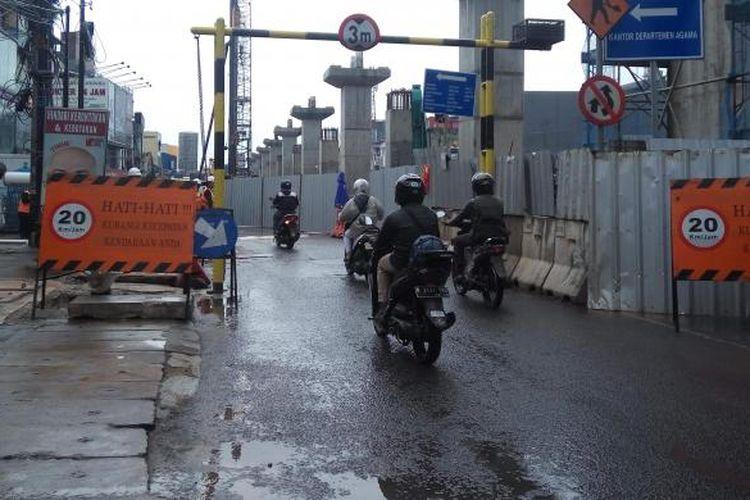 Kondisi Jalan Raya Fatmawati pada Kamis (9/2/2017).