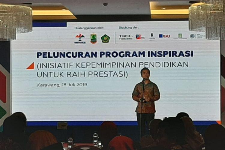 Direktur Eksekutif Inspirasi Patrya Pratama dalam peluncuran program Inisiatif Kepemimpinan Pendidikan untuk Raih Prestasi (Inspirasi) di Kabupaten Karawang, Jawa Barat, pada Kamis (18/7/2019) di Resinda Hotel Karawang.
