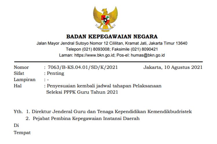 Tangkapan layar Surat Kepala BKN Nomor: 7063/B-KS.04.01/SD/K/2021 perihal Penyesuaian Kembali Jadwal Tahapan Pelaksanaan Seleksi PPPK Guru Tahun 2021.
