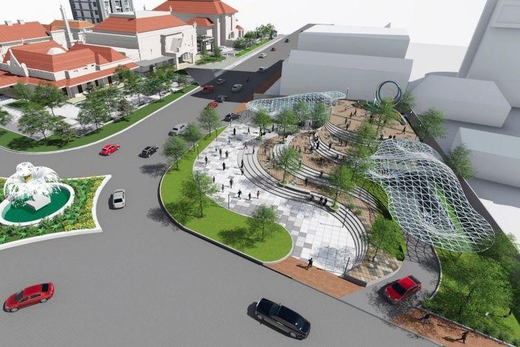 Desain Alun-alun Surabaya terletak di permukaan tanah dan di bawah Jalan Pemuda Nomor 17, di bawah Jalan Yos Sudarso, sertabasementBalai Pemuda.