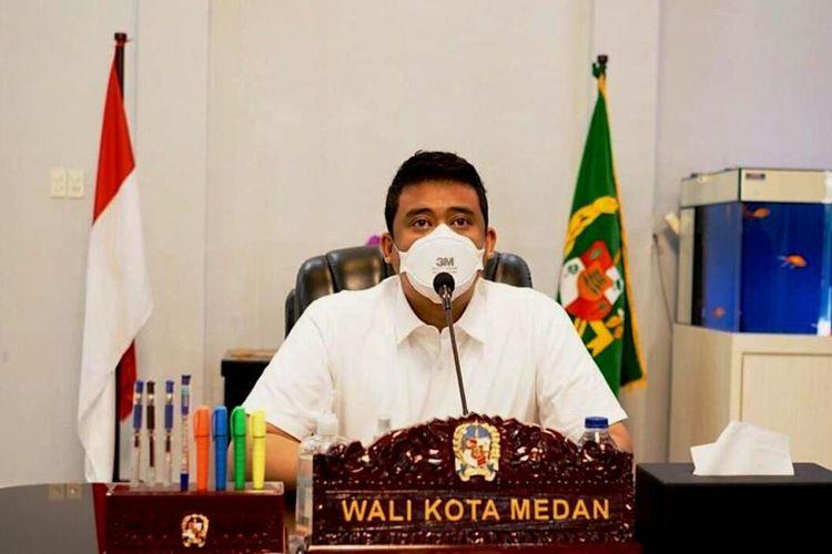 Wali Kota Medan Bobby Nasution menjelaskan, disiapkan 51.000 lebih paket sembako untuk masyarakat terdampak Covid-19 di masing-masing kecamatan se-Kota Medan, Sabtu (24/7/2021)