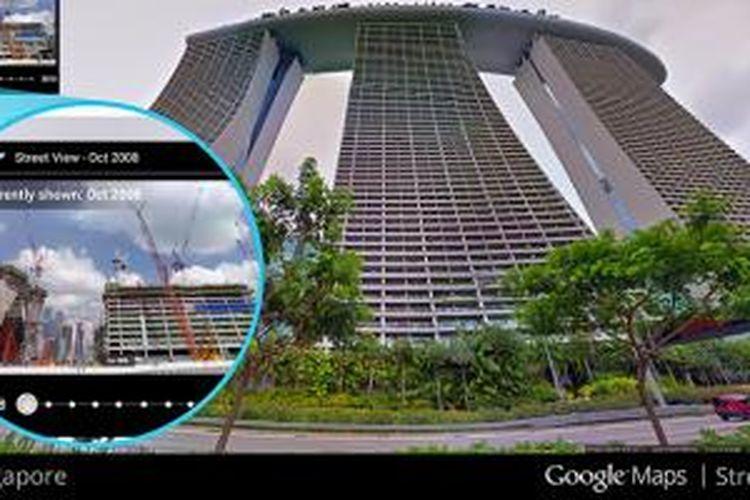 Pemandangan Hotel Marina Bay Sands di Singapura saat ini di Street View dan ketika masih dibangun pada 2008 (inset)