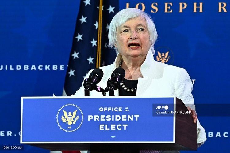 Menteri Keuangan AS Janet Yellen. foto file ini diambil pada tanggal 1 Desember 2020) saat Yellen berbicara selama acara pengumuman kabinet di The Queen Theatre di Wilmington, Delaware.