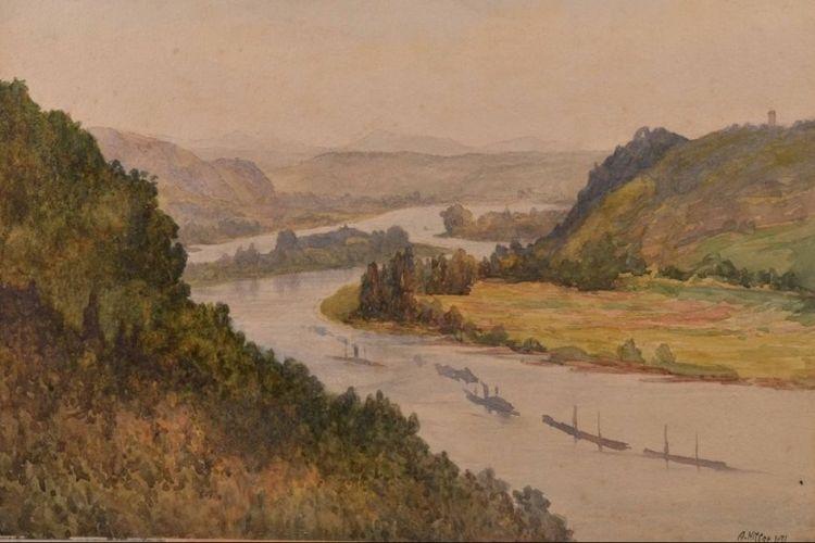 Lukisan cat air berjudul Rheinlandschaft dengan tanda tangan A. Hitler yang semula akan dilelang di Jerman.