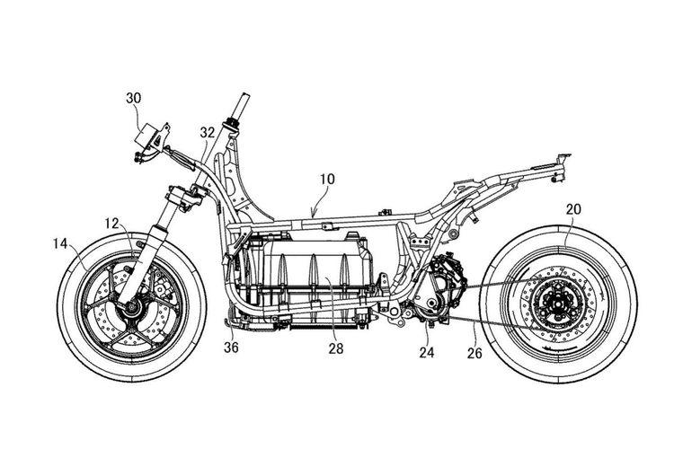 Desain paten motor listrik Yamaha E01