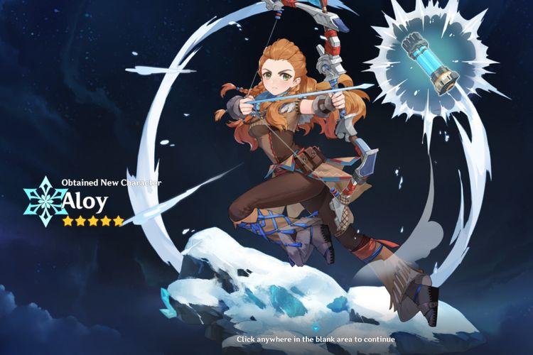 Ilustrasi Aloy, karakter bintang lima gratis di Genshin Impact.