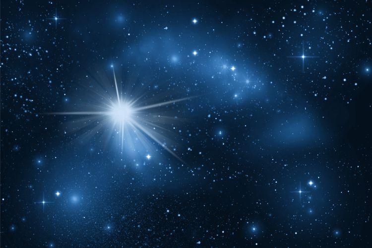 Sirius - bintang paling terang yang terlihat dari Bumi, difoto menggunakan teleskop. Sirius merupaan satu-satunya bintang yang disebut di Al-Quran