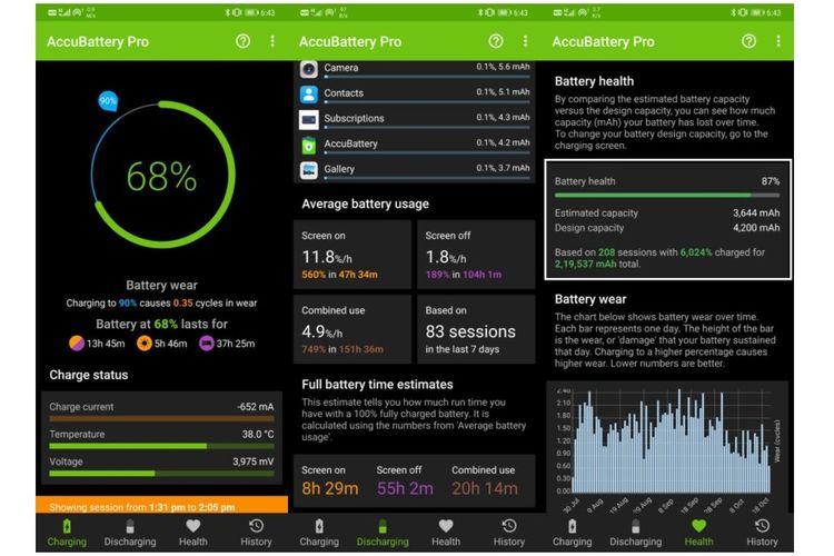 Ilustrasi tampilan aplikasi AccuBattery setelah didiamkan terpasang selama beberapa hari..