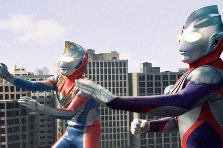 Cuplikan serial tv Ultraman Tiga.