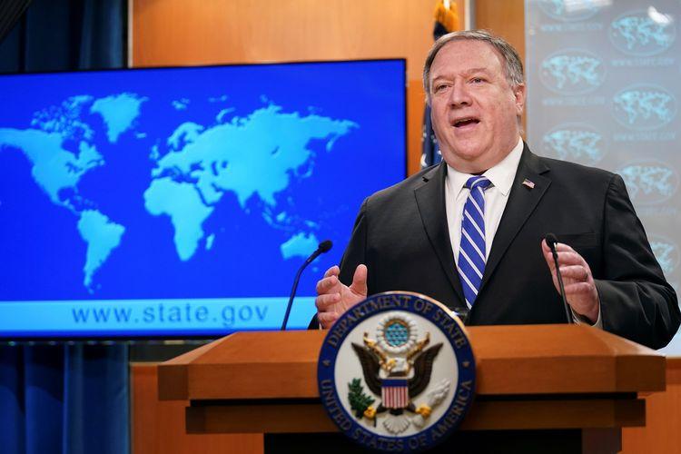 Menteri Luar Negeri Amerika Serikat (AS) Mike Pompeo saat berbicara di briefing virus corona di Departemen Luar Negeri AS, Washington DC, 6 Mei 2020.