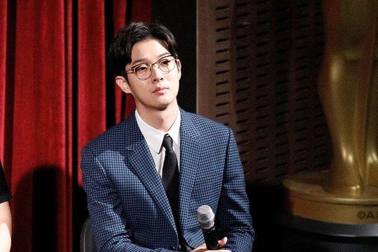 Aktor asal Korea Selatan Choi Woo Shik berbicara acara pemutaran resmi film Parasite untuk  The Academy of Motion Pictures Arts and Sciences di MoMA, Celeste Bartos Theater di New York City pada 7 Oktober 2019.
