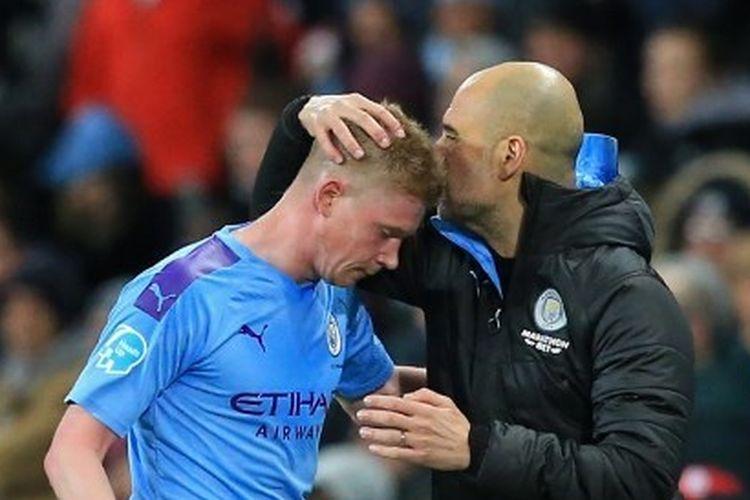Gelandang dan pelatih Manchester City (Man City), Kevin De Bruyne dan Pep Guardiola.