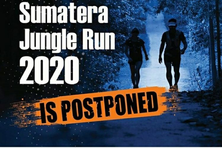 Capture postingan akun Instagram panitia lomba lari Sumatera Jungle Run terkait penundaan iven.