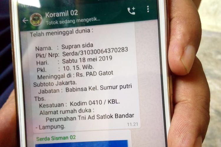 Beredar sebuah informasi di pesan singkat WhatsApp yang menyebutkan ada seorang anggota TNI yang meninggal di Rumah Sakit Pusat Angkatan Darat (RSPAD) Gatot Soebroto, Jakarta Pusat pada Sabtu (18/5/2019).