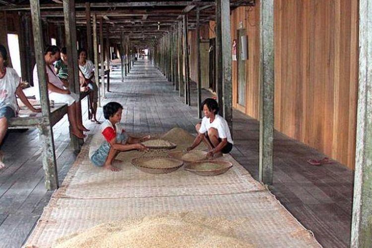 Rumah adat suku Dayak yang disebut rumah panjang di Dusun Saham, Desa Saham, Kecamatan Sengah Temila, Kabupaten Landak, Kalimantan Barat. Rumah yang oleh warga setempat disebut radakng itu dibangun tahun 1875. Pembuatan rumah ini sebagian besar menggunakan kayu ulin.