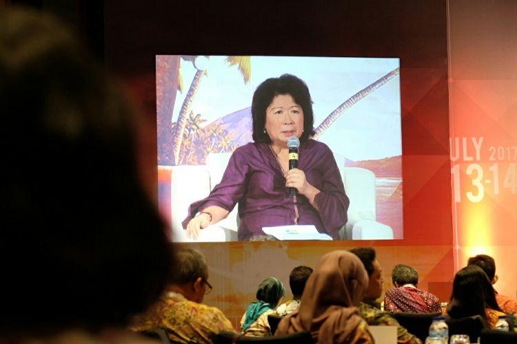 Menteri Perdagangan RI periode 2004-2011 Mari Elka Pangestu dalam Seminar Internasional Navigating Financial Stability in an Evolving Global Economic System di Nusa Dua, Bali, Jumat (14/7/2017).