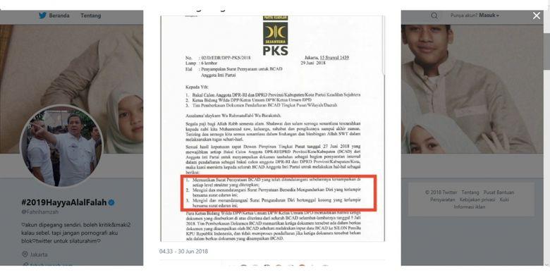 Politisi PKS Fahri Hamzah mengunggah surat berlogo PKS yang meminta bakal caleg terpilih harus siap mengundurkan diri kapanpun.
