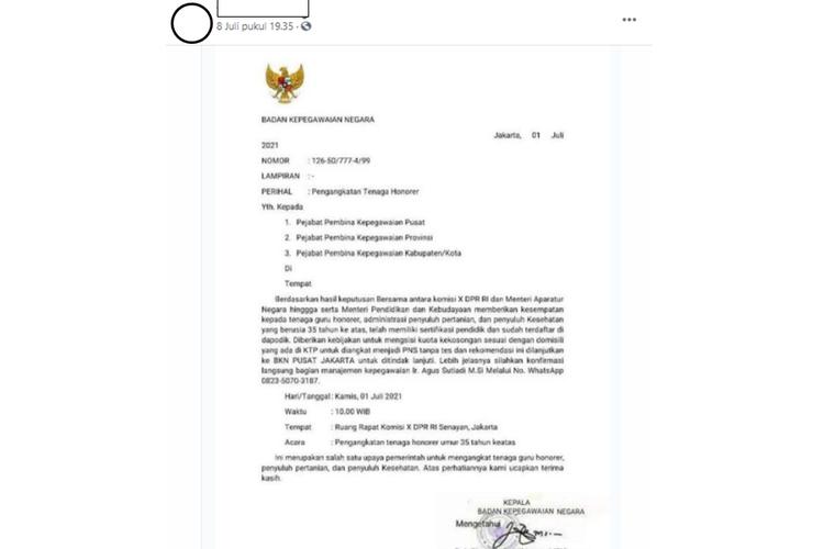 Hoaks surat pengangkatan tenaga honorer menjadi pegawai negeri sipil (PNS) tanpa tes.
