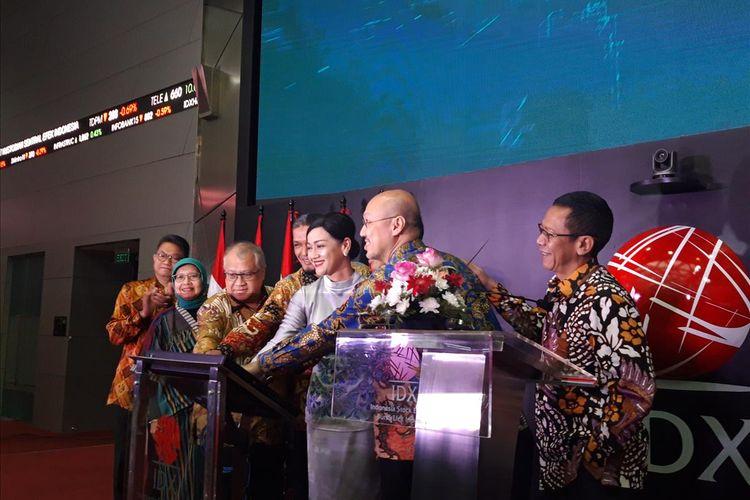 Jajaran Direksi PT Kustodian Sentral Efek Indonesia (KSEI) dalam peluncuran Acuan Kepemilikan Sekuritas (AKSes) generasi terbaru di Jakarta, Senin (20/5/2019).