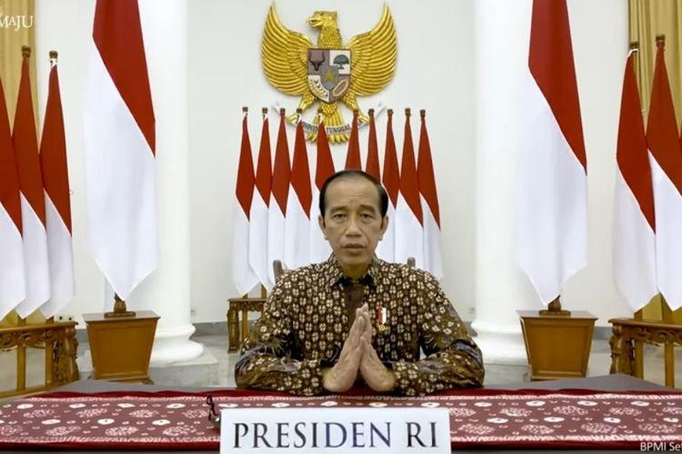 Presiden Joko Widodo memberikan keterangan pers terkait status PPKM Darurat melalui kanal Youtube Sekeratriat Presiden, Selasa (20/7/2021).