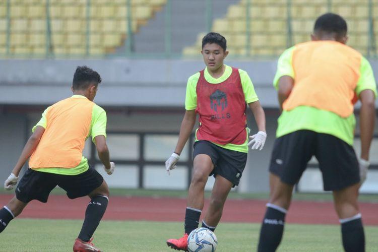 Marcell Januar Putra dalam pemusatan latihan (TC) Timnas U16 Indonesia.