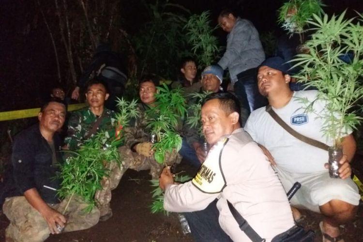 Bripka Jajang dan Serma Asep bersama anggota Res Narkoba Polres Garut dan petugas KSDA Garut usai membongkar tanaman ganja, Minggu (19/01/2020) dinihari