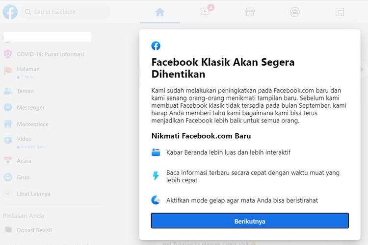 Tangkapan layar pengumuman Facebook yang akan menyetop desain klasik pada bulan September mendatang.