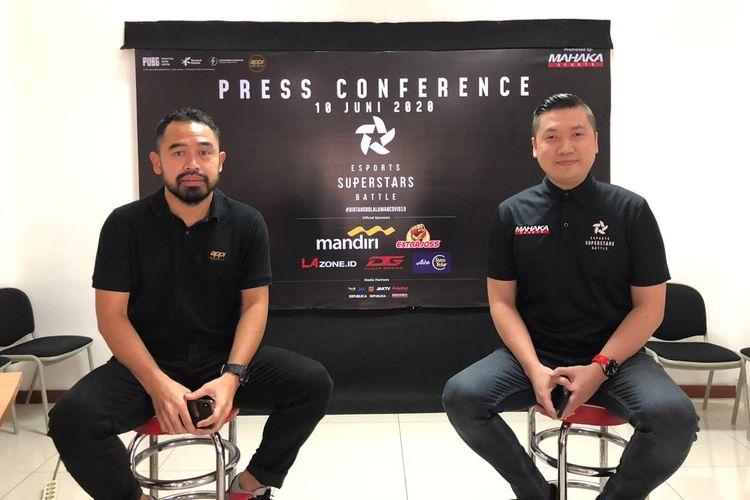 General Manager APPI, Ponaryo Astaman (kiri), bersama dengan CEO Mahaka Sports, Cahyadi Wanda (kanan) dalam konferensi pers eSports Superstars Battle, Rabu (10/6/2020).