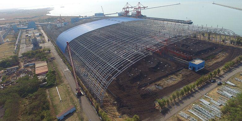 Progres Konstruksi Pembangunan Coal Shelter PLTU Indramayu sebesar 69,57 % (Data per-September 2019)