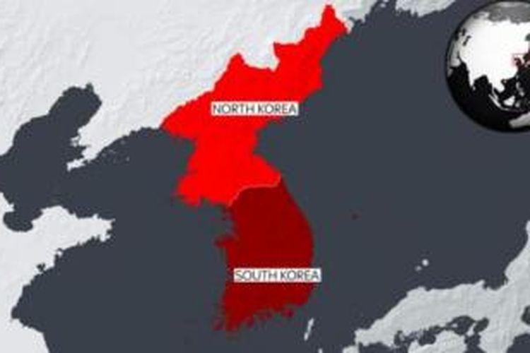 Peta Korea Utara dan Selatan.