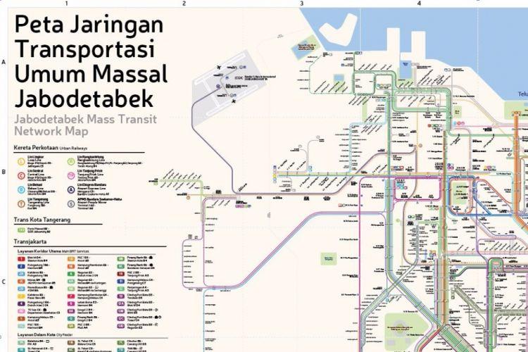 Peta jaringan transportasi umum massal Jabodetabek @TransportforJakarta.