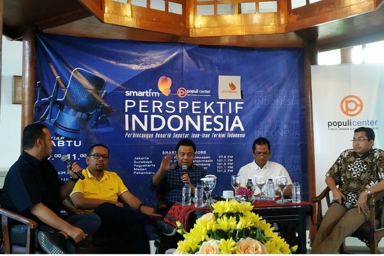 Ketua DPP Nasdem Willy Aditya dan Jubir PKS Ahmad Fathul Bari memberikan keterangan soal pertemuan Surya Paloh dan Sohibul Iman, Sabtu (2/11/2019) dalam diskusi bertajuk Memaknai Pelukan Politik PKS dan Partai Nasdem.