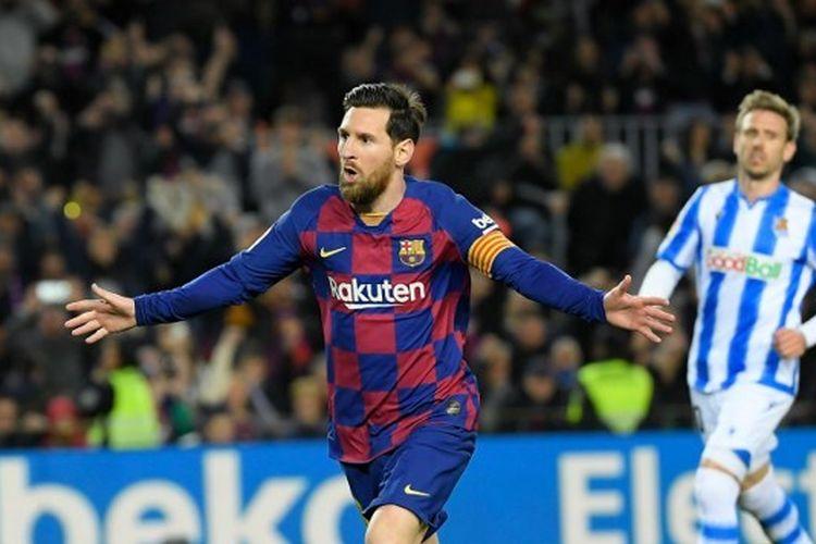 Lionel Messi mencetak gol pada laga Barcelona vs Real Sociedad dalam lanjutan jornada ke-27 Liga Spanyol.