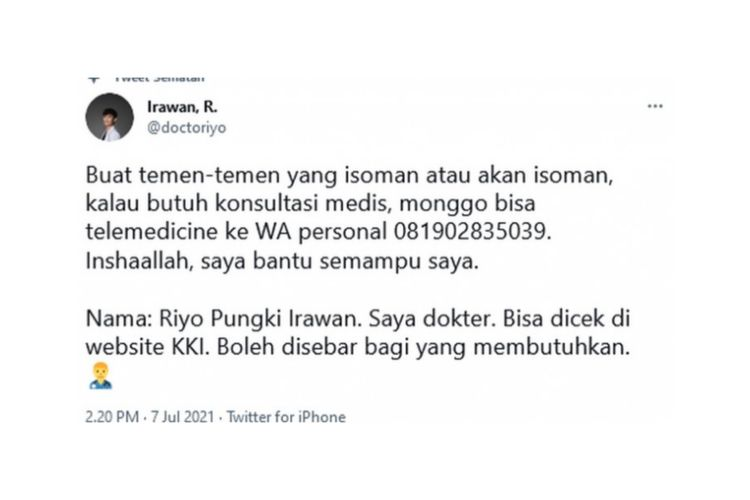 dr. Riyo Pungki Irawan tawarkan konsultasi gratis bagi pasien isoman